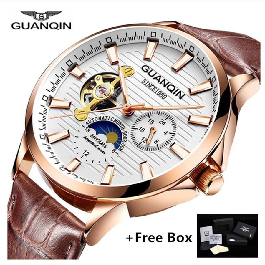 Top Brand GUANQIN Mechanical Watches Men Tourbillon Automatic Watch with Moon phase 24hours Luminous Leather Mens Wrist Watch guanqin gq16061 watches men luxury brand men s tourbillon moon phase automatic mechanical watch stainless steel luminous