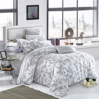 Elegant Floral And Leaves Print Bedding Set Queen King Size Duvet Cover Flat Bed Sheets Pillowcase