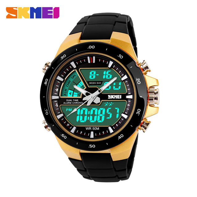 Men Military Sport Watches 2 Times Zone Backlight Quartz Chronograph Jelly Silicone Swim Dive Wrist Watch SKMEI Brand New 2017