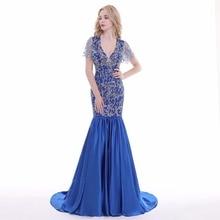 V-neck Navy Blue Long Mermaid Evening Dress Lace Beaded Vintage Prom Gowns Vestido De Festa Cap Sleeve  Cheap Evening Gown
