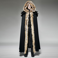 Gothic Punk Fall Winter Long Wool Collar Cloak Coat Men Vintage Long Trench Capes Warm Overcoats with Hooded