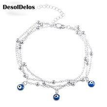 Plating Blue 3inch Eye 8 6cm Elegant Women Pendant 2 Turkish Beach Anklet Piercing 4inch 21cm Chain