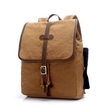 M195 Luxury Canvas Leather Backpacks for Men Vintage Rucksacks Teenagers School Daypacks 15 Laptop bag Travel Backpack Weekend