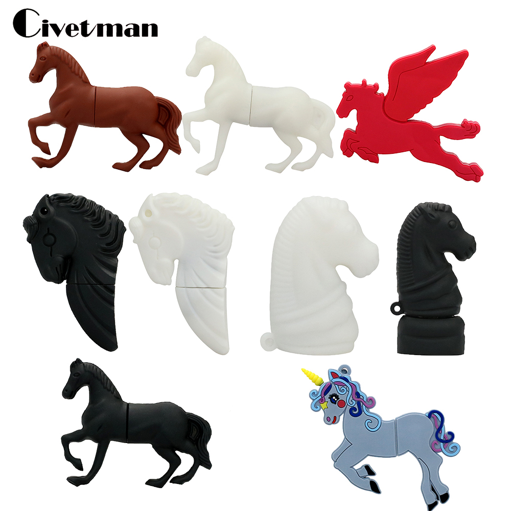 Black Horse USB Flash Drive 128GB Pen Drive Animal Horse 8GB 16GB 32GB 64GB Flash Memory Stick Pendrive Mini U Disk