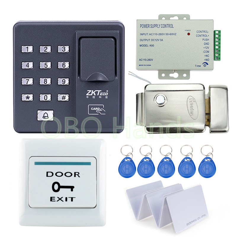 Cheapest!!  full Fingerprint door lock system for access control with remote control+electric lock+power supply+exit button biometric face and fingerprint access controller tcp ip zk multibio700 facial time attendance and door security control system