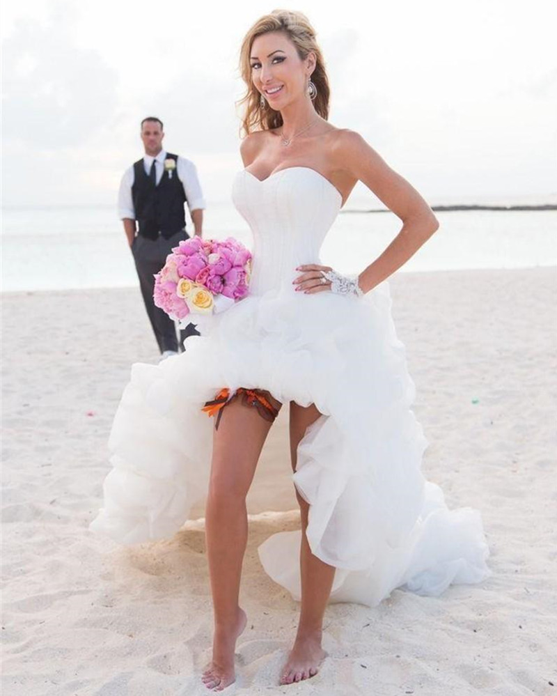 Popular prom style wedding dress buy cheap prom style wedding western style high low corset bodice beach wedding dress lady organza fold sweetheart sexy bridal dress ombrellifo Images
