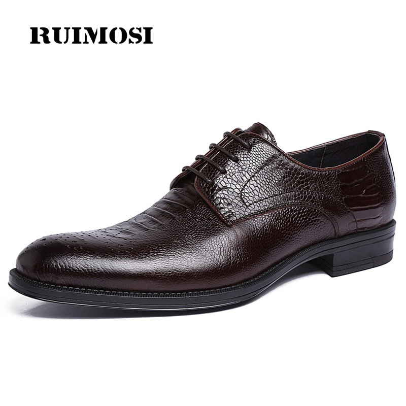 RUIMOSI Top Quality Formal Man Dress Shoes Genuine Leather Male Platform Oxfords Luxury Brand Men's Wedding Bridal Footwear LF96