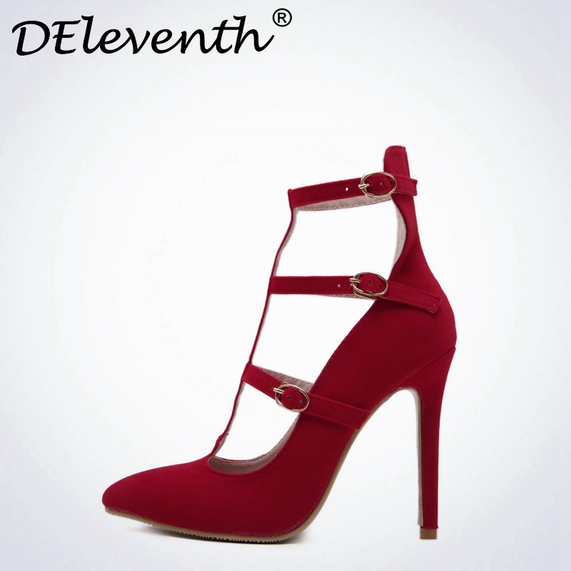 DEleventh Sexy Women Mary Janes Ankle Strap Hollow Pointed Toe High Heels Shoes Thin Heeled Red Pumps Zapatos mujer tacon Black 7 colors new sexy women pumps shoes high heels tacon alto bride wedding zapatos mujer pointed toe sweet bowtie women shoes