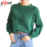 2017 Autumn Winter Loose Long Sleeve Thicken Warm Sweater Woman O Neck Ruffles Sweater Fashion Knitted