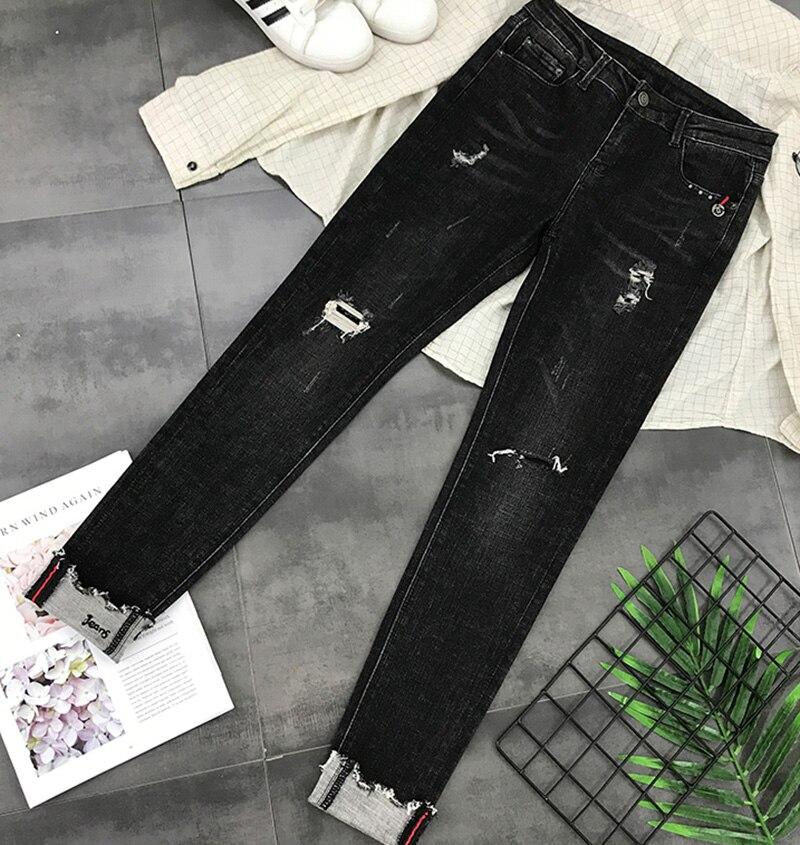 Zipper Style Évider Jeans Décontracté Grande Printemps Individuel Solide Up Mode Coréens Pantalons Z911 Poches Taille Couleur 2019 Black Pantalon v8AqRrnv