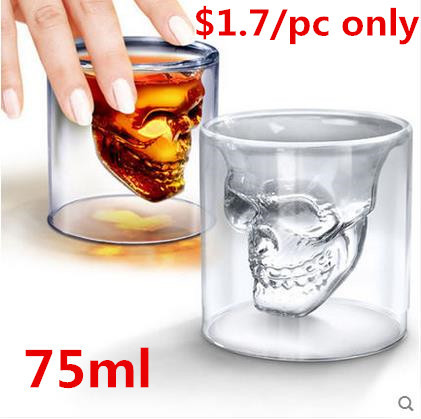 free shipping by FEDEX 120pcs/ctn Doomed Crystal Skull Shot Glass/Crystal Skull Head Vodka Shot Wine Glass Novelty Cup 75ml/pc