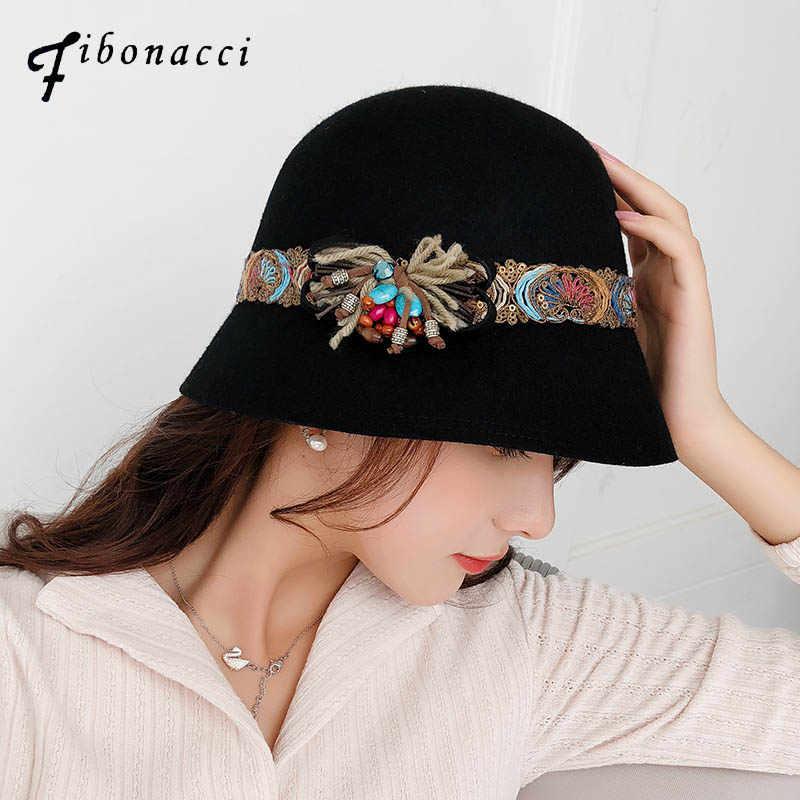 3fbf9bcf3124d ... Dome Women Fedora Hats. RELATED PRODUCTS. Fibonacci 2018 New Autumn  Winter Female Fedoras Wool Felt Hats Elegant Bucket Ethnic Style Belt Floral