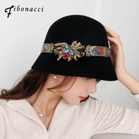 Fibonacci 2018 New Autumn Winter Female Fedoras Wool Felt Hats Elegant Bucket Ethnic Style Belt Floral Women Fedora Hat