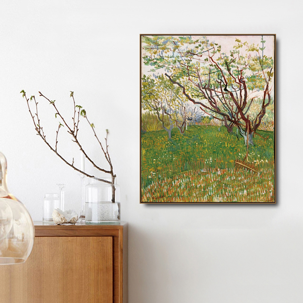 The Pink Peach Tree by Vincent Von Gogh Poster Print Canvas Painting Calligraphy Home Decor Wall Art Pictures for Living Room