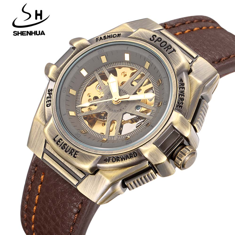 2017 New Men Watches SHENHUA Leather Band Skeleton Automatic Mechanical Wrist Watches For Men Sports Men Watch relogio masculino2017 New Men Watches SHENHUA Leather Band Skeleton Automatic Mechanical Wrist Watches For Men Sports Men Watch relogio masculino