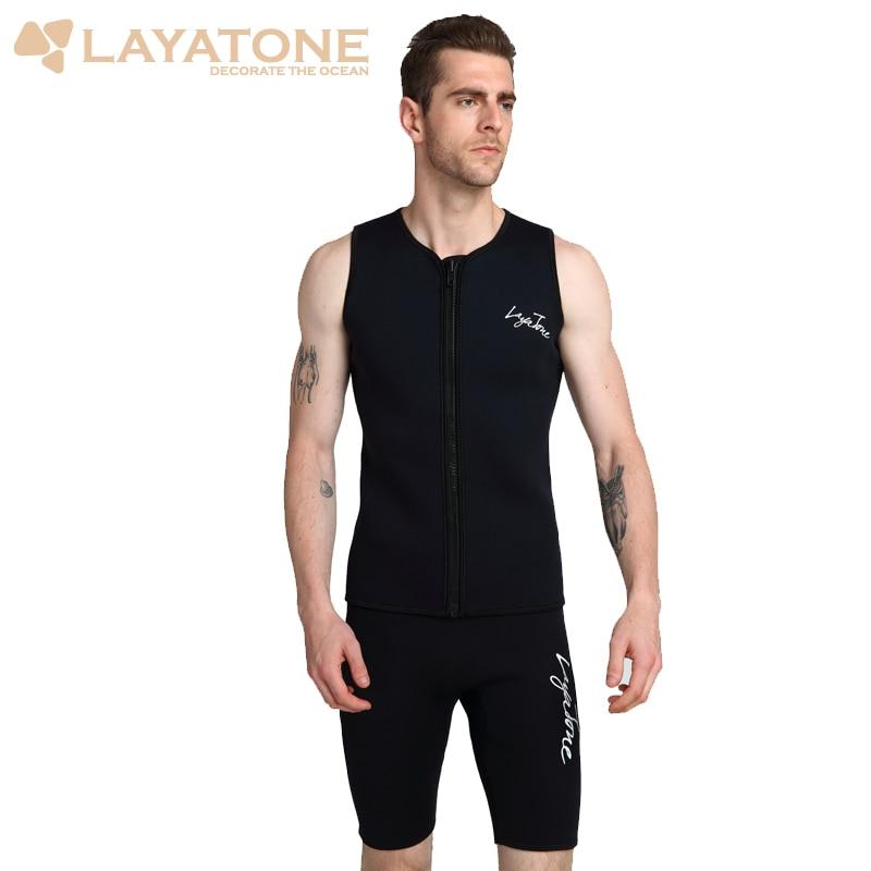 Layatone водоустойчив жилетка мъже 3mm неопрен водолазен костюм топ жилетка за сърфинг шнорхел риболов костюм ръкави гмуркане жилетка