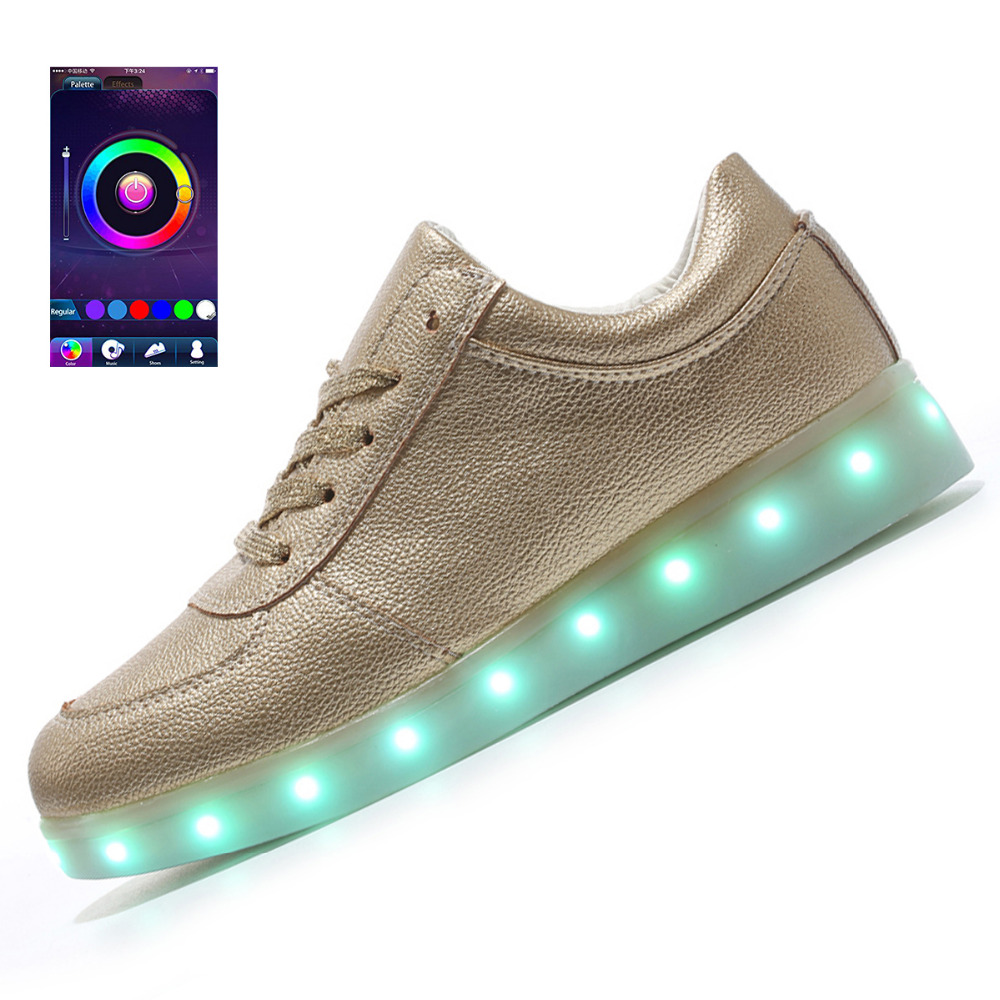 Flashing App Luminosos Control Zapatos Light De Los Hombres Led RzwzCH