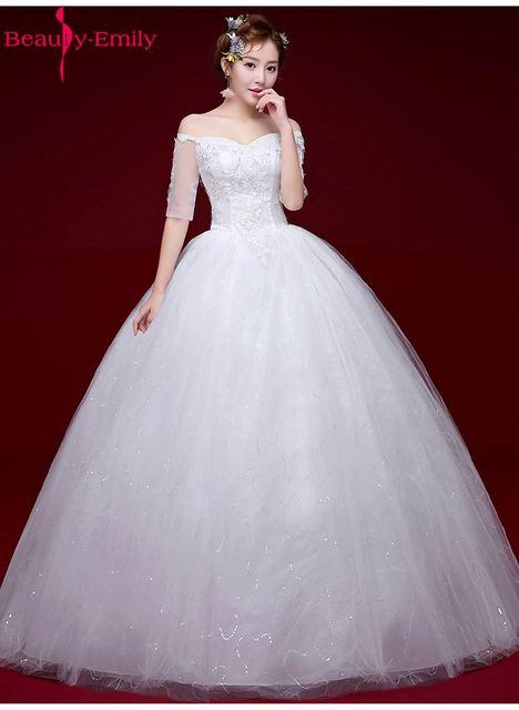 Beauty Emily White Long Cheap Wedding Dresses 2017 Ball Gown Half ...