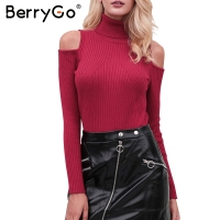 BerryGo Turtleneck Knitting Winter Sweater Women Cold Shoulder Casual Pullover Female Elegant Streetwear Pull Autumn Jumper