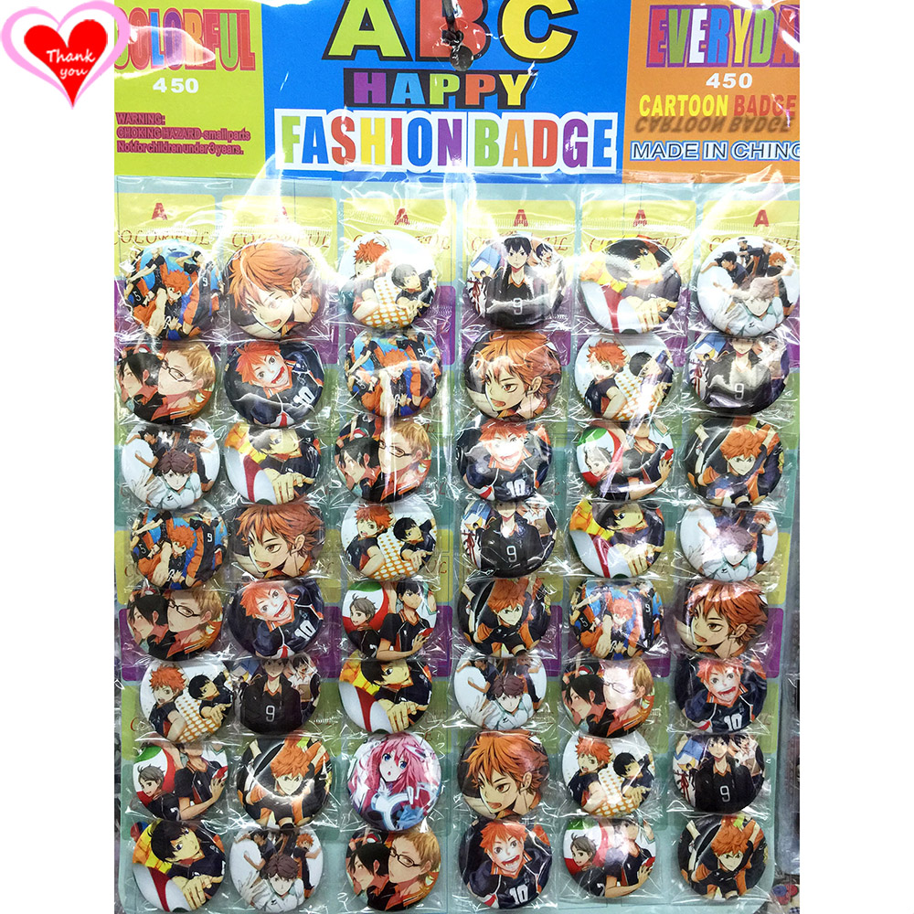 Kärlek tack Haikyuu 45MM 16/24/32/40/48/40/48 st. Mycket PIN-BACK BADGE-KNAPP BROSCH för BAGGIFT TOY CLOTH Cartoon & anime