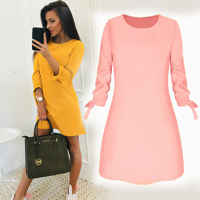2019 Summer New Fashion Solid Color Dress Fashion O-neck Loose Dresses Casual 3/4 Sleeve Bow Loose Dress S-4XL Vestidos