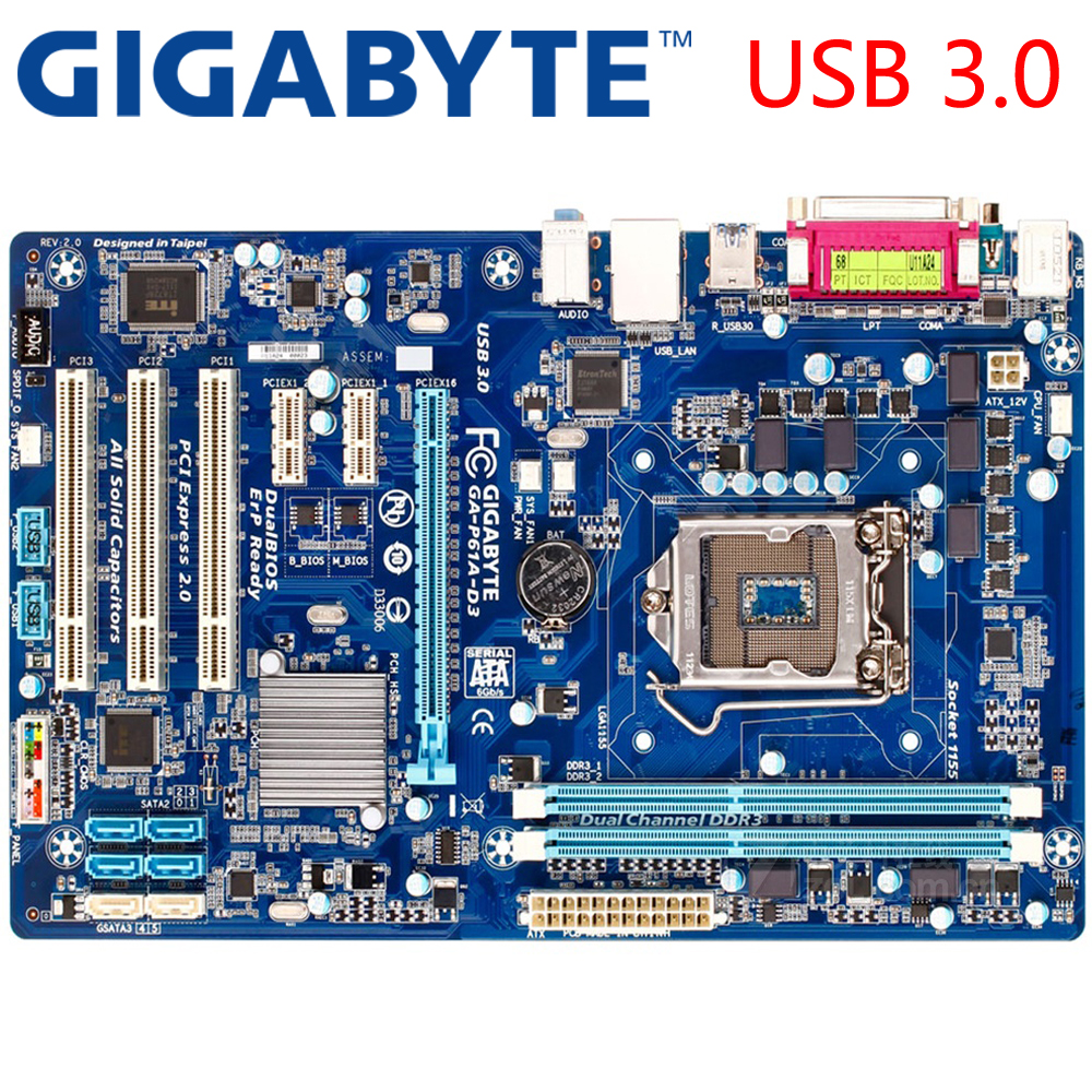 GIGABYTE GA-P61A-D3 Desktop Motherboard H61 Socket LGA 1155 i3 i5 i7 DDR3 16G ATX Original P61A-D3 Used Mainboard asus p8h61 m pro desktop motherboard h61 socket lga 1155 i3 i5 i7 ddr3 16g uatx uefi bios original used mainboard on sale