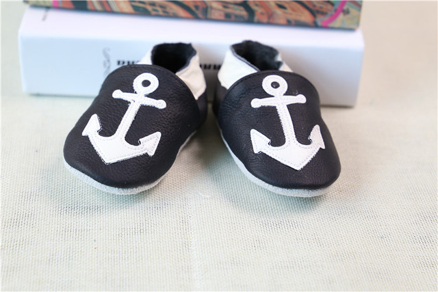 Newest Style White anchor Pattern Genuine Leather Baby Moccasins soft Baby Shoes First Walker newborn baby shoes free shipping