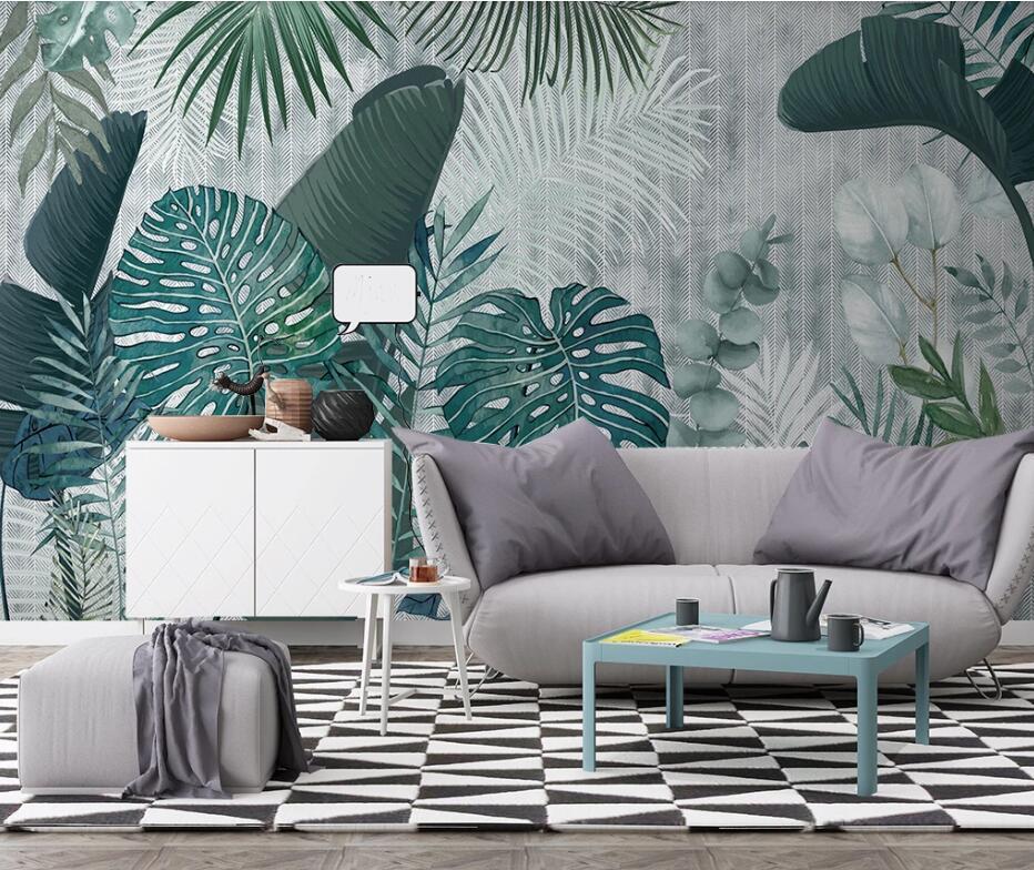 Private custom wallpaper mural Nordic hand-painted tropical plants leaves TV bedroom living room background wallpaper...