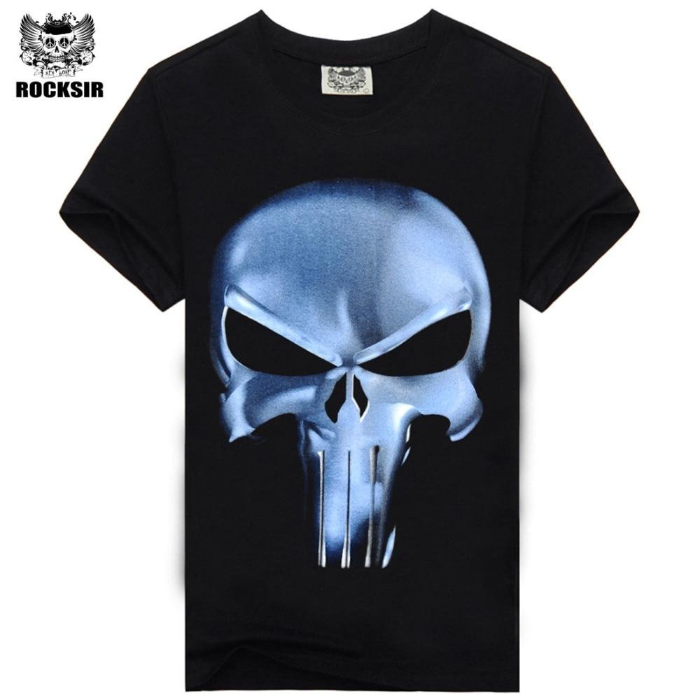 Rocksir punisher t shirt 남성 여름 처벌 스컬 헤드 그림 3D - 남성 의류 - 사진 2