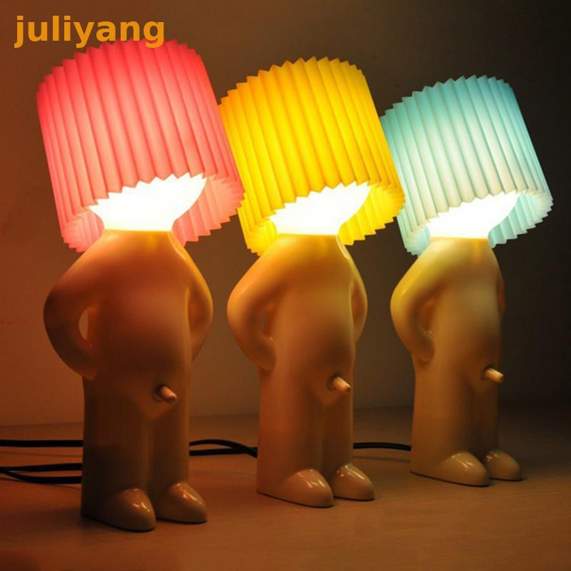 Creative Little Shy Boy Pee Small Night Bule Yellow Pink Lamp Shade A Nice Gift For Friend