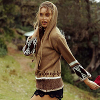2017 chic boho winter knitted women sweater pullovers ethnic embroidered Nine point sleeve loose Hippie Bohemia Hooded sweaters