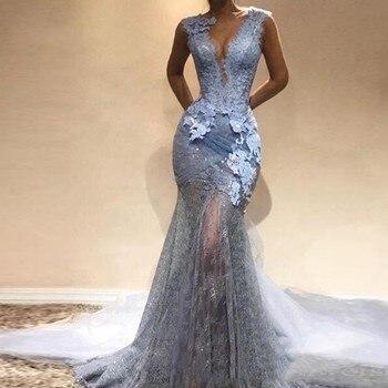 20f6918d1 Vestido longo festa Appliques sirena vestido de noche azul polvoriento  abiye gece elbisesi cuello avondjurk vestidos de noche largo