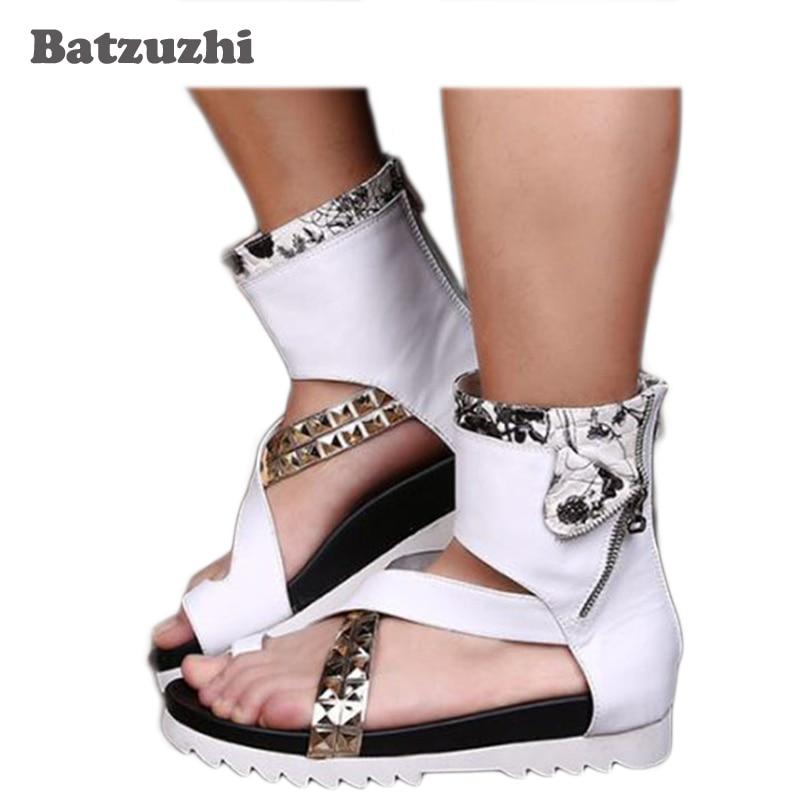2018 New Roman Men Sandal Shoes Summer Male Fashion Sandalias Boots White Leather Men Shoes Zipper Runway Sandalias Hombre, US12