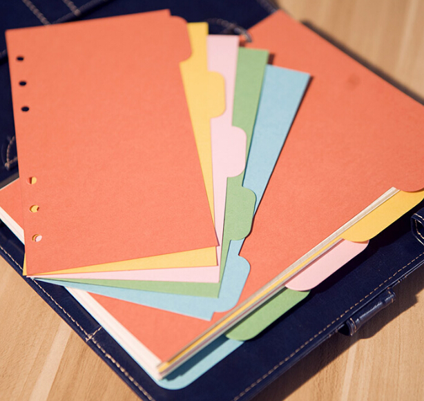 A5 / A6 6 hole loose leaf notebook paper page color separator pages ...