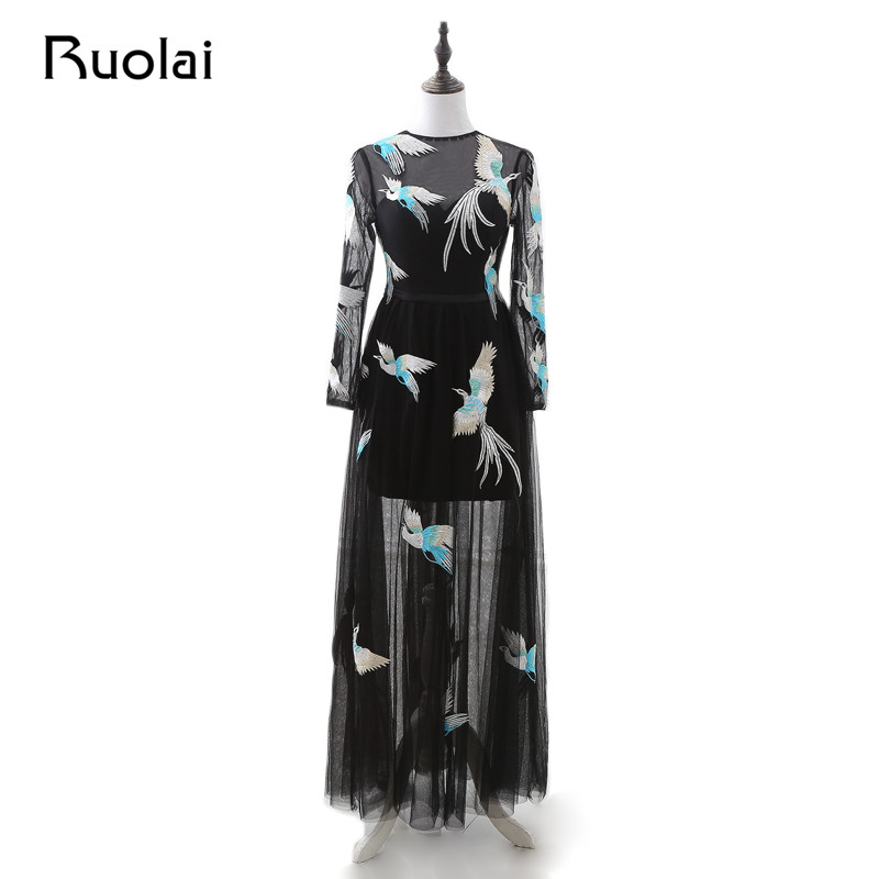 Real Photo Black Evening Dresses 2019 Long Sleeve Tulle Bird Embroidery Pattern Prom Dresses Long Lace Up Robe de Soiree PD91