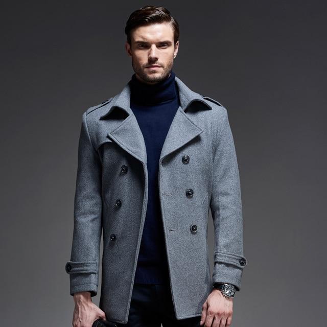 New Winter Fashion Wool Blend Mens Pea Coat Long Black Trench Coat ...