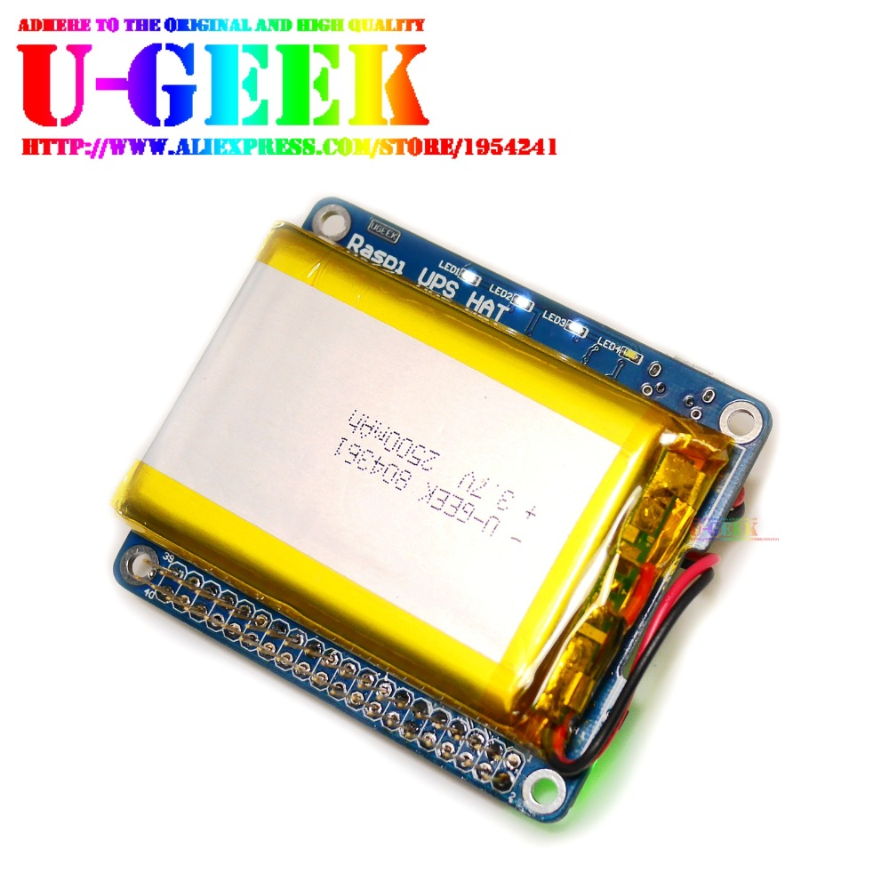 UGEEK UPS HAT with Battery for Raspberry Pi 3 Model B/2B/B+| Raspberry Pi Battery Adapter |Power Source Pi 3 waveshare li ion battery hat for raspberry pi 5v regulated output bi directional quick charge integrates sw6106 power bank chip