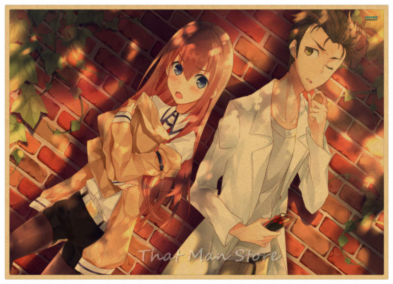 Steins Gate Okabe Rintarou Makise Kurisu Shiina Mayuri Wall Sticker Kraft Poster Japanese Anime 30 21cm Wall Stickers Aliexpress