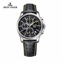 Риф Тигр/RT Спорт хронограф часы для Для мужчин супер световой Сталь кожаный ремешок часы кварцевые часы с датой RGA1663