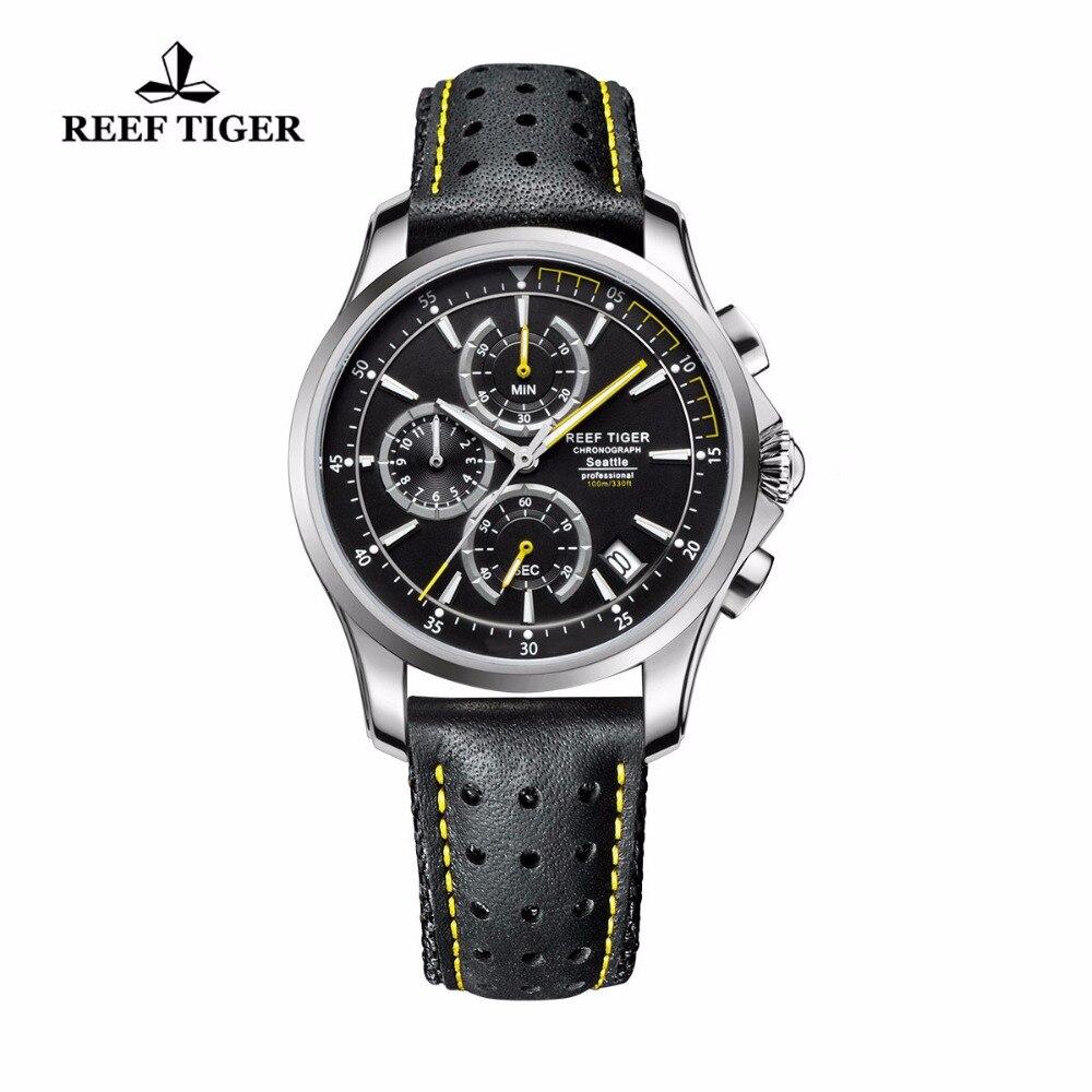 Récif tigre/RT Sport chronographe montres pour hommes Super lumineux en acier bracelet en cuir montres montres à Quartz avec Date RGA1663
