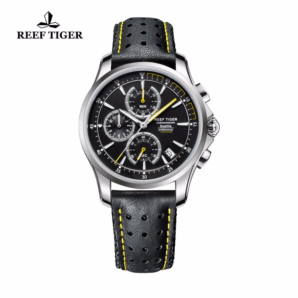 Reef Tiger/RT Sport Chronograph Watches for Men Super Luminous Steel Leather Strap Watches Quartz Watches with Date RGA1663 reef tiger rt chronograph sport watches for men dashboard dial watch with date quartz movement steel watches rga3027