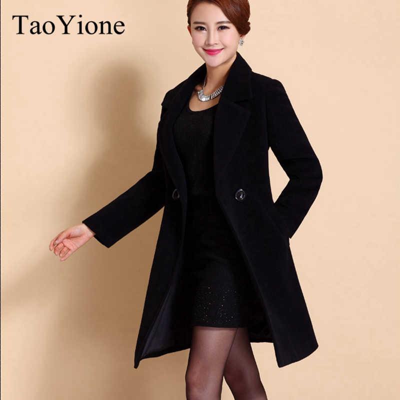 2019 Musim Gugur Wanita Wol Mantel Baru Mode Panjang Wol Mantel Wanita Musim Dingin dengan Hangat Trench Plus Ukuran Panjang Pakaian Luar jaket Wanita