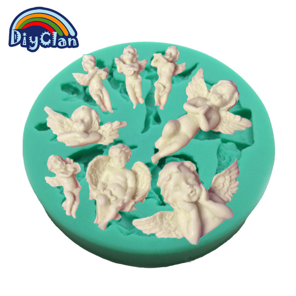 New angel baby DIY silicone fondant cake molds chocolate cupcake resin mold cake tools kitchen baking decoration form F0634TS30