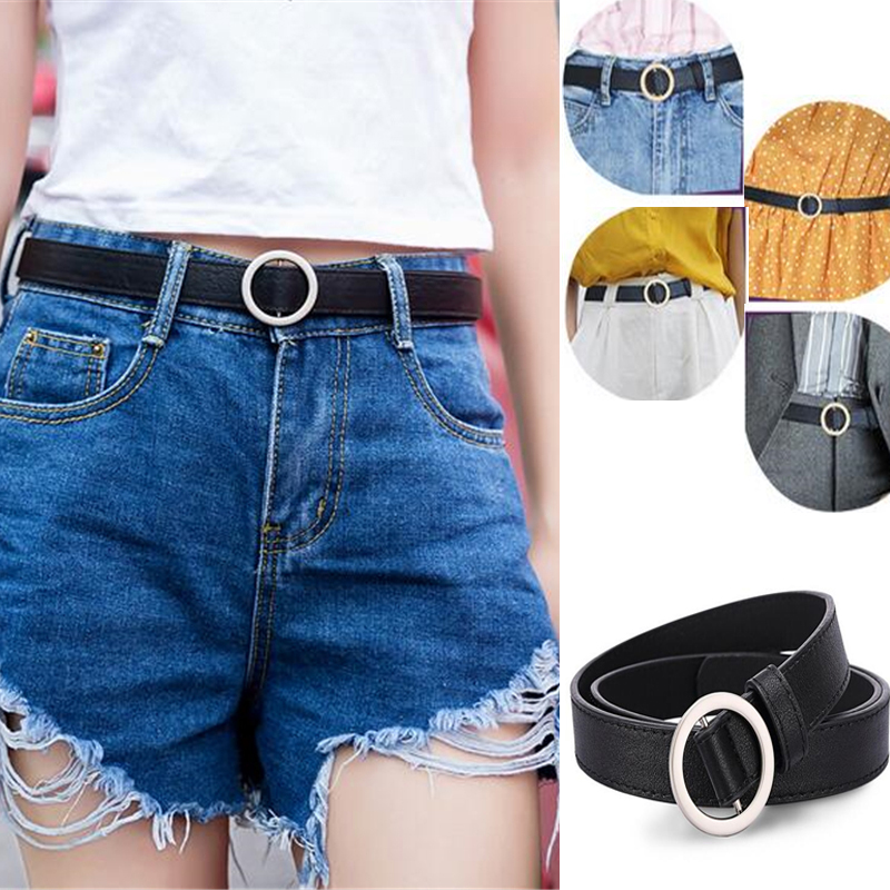 Women's Belt Silver Buckle Waist Belts Ladies Women's Dress Jeans Skinny Leather Strap Kids Belt High Quality Cinturon Mujer