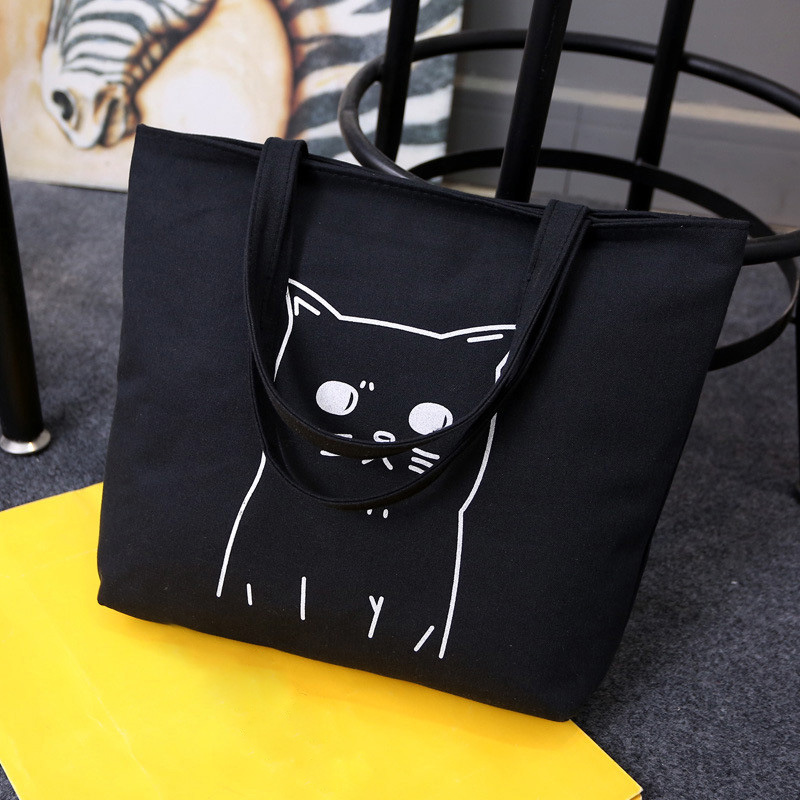 Osmond Canvas Beach Bag Cartoon Cats Printed Shopping Bags Female Handbag Women Cat Totes Black Girls Casual Beach Shoulder Bags 2017 new fashion women canvas handbags casual beach woman bags female shoulder bag crossbody bag book bags for teenage girls