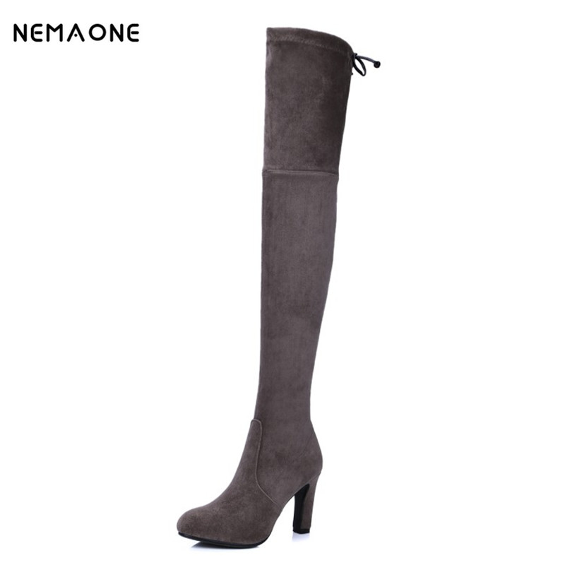 NEMAONE Fashion genuine leather thigh high boots chunky high heels women stretch over the knee boots autumn winter shoes