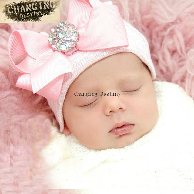 cf0761502fc 0-3 Months Cute Newborn Baby Hats Big Bow Knot Pink Diamond Stripe Toddler  Knit