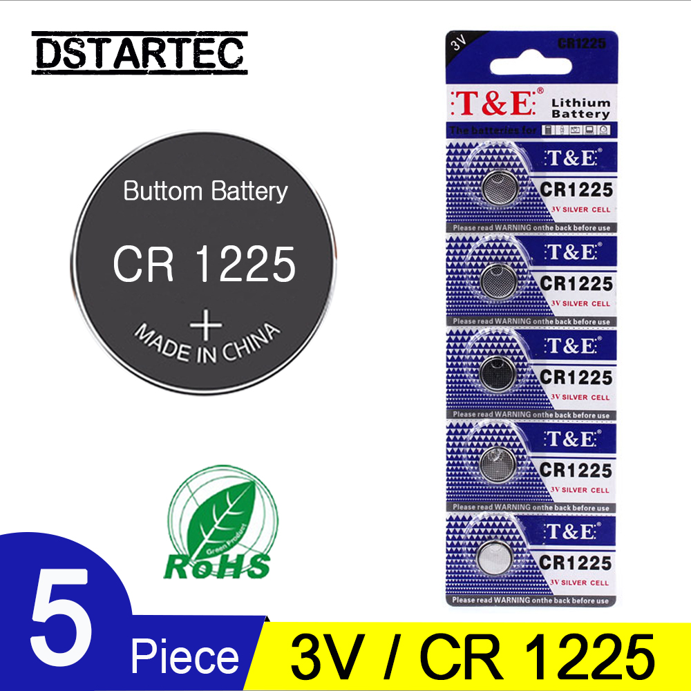 5PCS CR1225 3V Lithium Button Battery BR1220 LM1225 DL1225 CR 1225 Coin Cell Batteries For Watch Remote Toys; 30mAh Battery