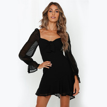 Sexy backless long sleeve chiffon dress black dress V-neck casual A word women party dess female vestidos 2019 solid color sexy style round neck long sleeve solid color backless women s dress