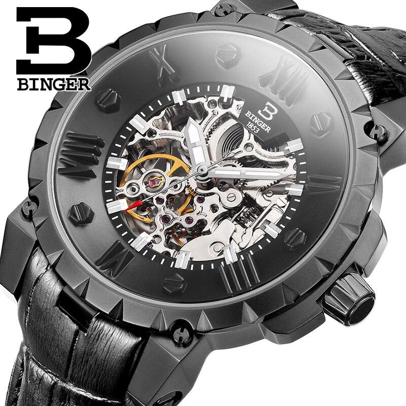 Switzerland BINGE Watches Men Luxury Brand Skeleton Watch Men Mechanical Automatic Sapphire Wristwatches Waterproof Clock B-5032